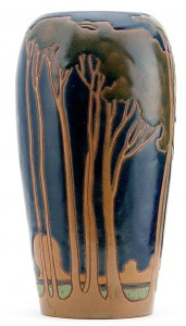 RHEAD SANTA BARBARA Tall vase etched with a stylized landscape