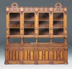 A Victorian Oak And Ebonised Bookcase, in the Arts and Crafts style
