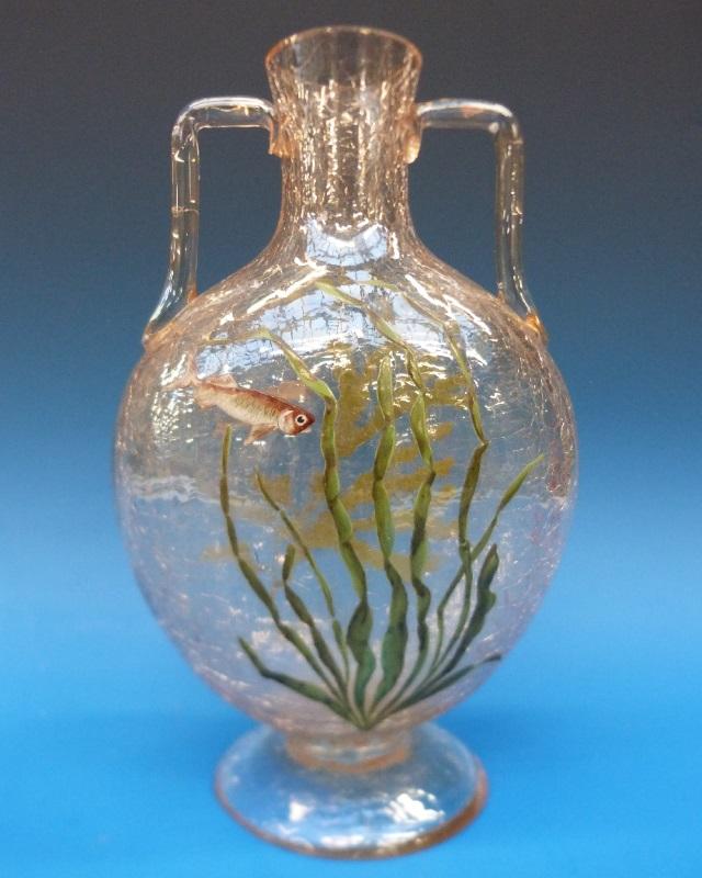 Moser enamel and crackle glass vase 1900-1920