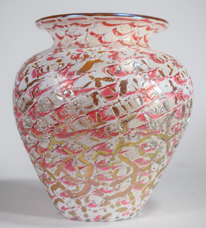 a Durand Moorish Crackle Art Glass Vase