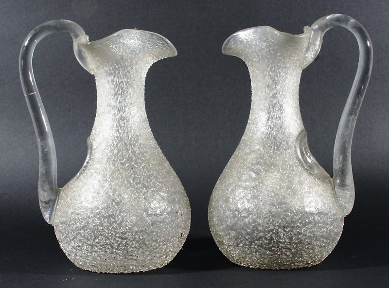 a pair of 19th century Crackle Glass Lemonade Jugs