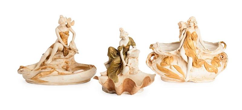 Royal Dux porcelain Art Nouveau centers