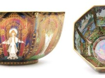 A 1920s Fairyland Lustre octagonal bowl decorated in the Geisha or Angels pattern.Sold for £1.750 at Fieldings, March 2018.
