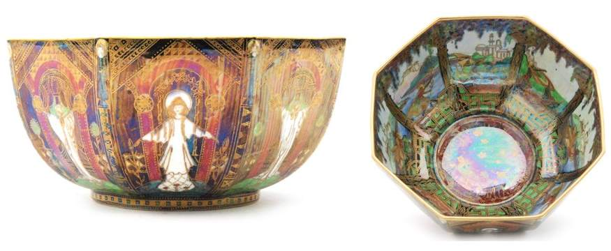 A 1920s Fairyland Lustre octagonal bowl decorated in the Geisha or Angels pattern
