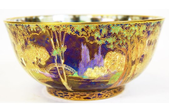 Wedgwood fairyland lustre bowl exterior pattern woodland bridge