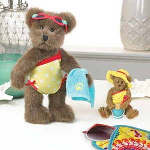 "Part of the 2014 Friends of Boyds (F.o.B) Club Kit - 8"" plush bear Sandy Seashell and 3"" miniature Bearstone® figurine - Sandy Seashell...Buckets of Fun."