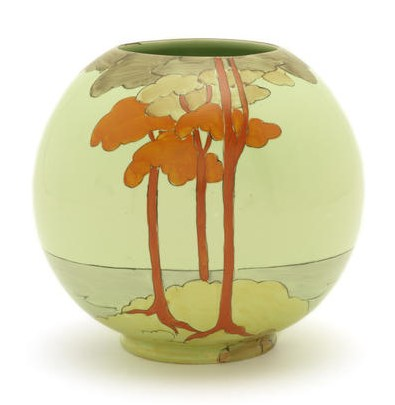 clarice cliff coral firs globe vase