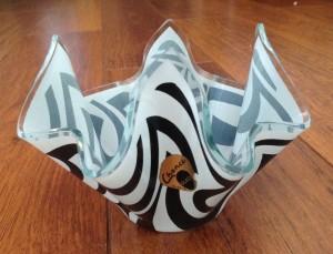 Chance Glass Handkerchief Vase Black Psychedelic