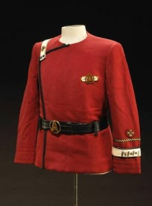 "A dress uniform tunic worn by James T. Kirk in ""Star Trek IV: The Voyage Home"""