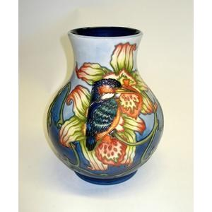 A Moorcroft collectors club design 'Kingfisher' pattern vase Debbie Smith