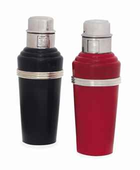 "A PAIR OF ART DECO BAKELITE AND SILVER-PLATED ""MASTER INCOLOR"" SERIES COCKTAIL SHAKERS"