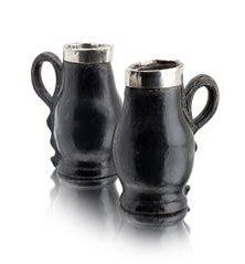 18th century silver mounted black jacks