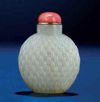 white jade basket weave snuff bottle qianlong period