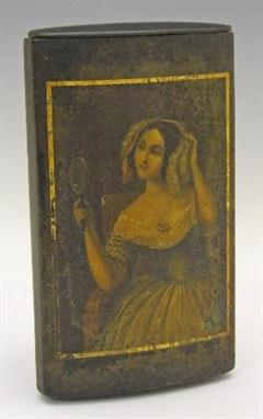 19th Century lacquered papier-mache cigar case with painted lady
