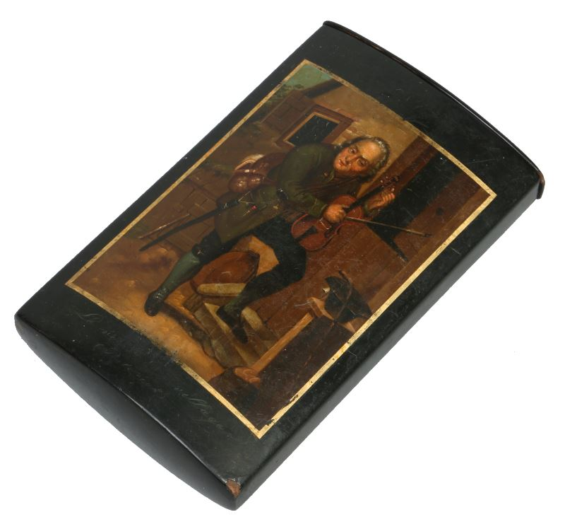 A 19th century German Stobwasser lacquered papier mache cigar case