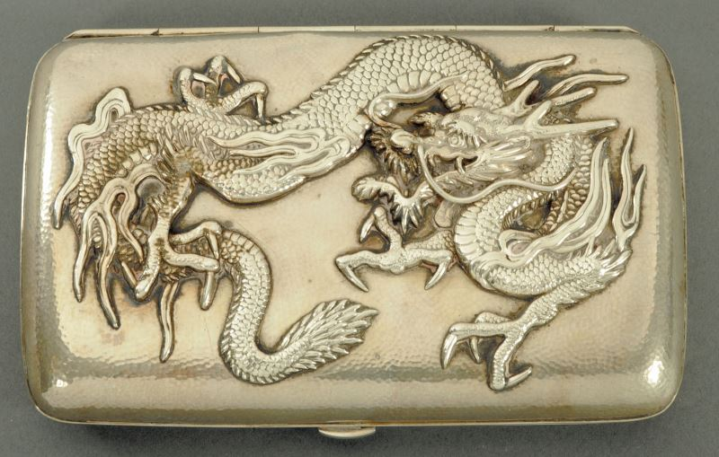A Chinese silver cigar case late 19th century