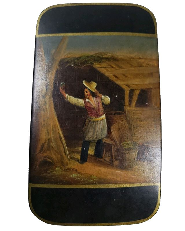 a 19th century Papier Mache Cigar Case featuring Wine Maker Vintner painting