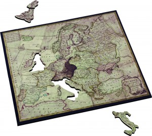 John Spilsbury Map of Europe by Wentworth Wooden Puzzles. A reproduction from a series of the first puzzles made by John Spilsbury in 1762.