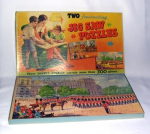 Trooping the colour and The Lord Mayor's coach cardboard 1950s' puzzles, made by Philmar