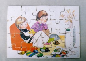 Wooden Mabel Lucy Attwell puzzle depicting children watching television, 1960s