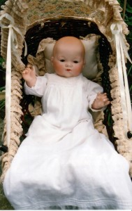 This is an Armand Marseille 341 'My Dream Baby' – it is the closed mouth version with the solemn expression. An enchanting doll, no wonder so many 1920s' little girls wanted one.