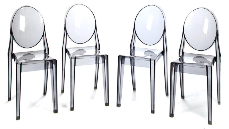 A set of four Victoria Ghost side chairs modern, designed by Philippe Starck  for Kartell
