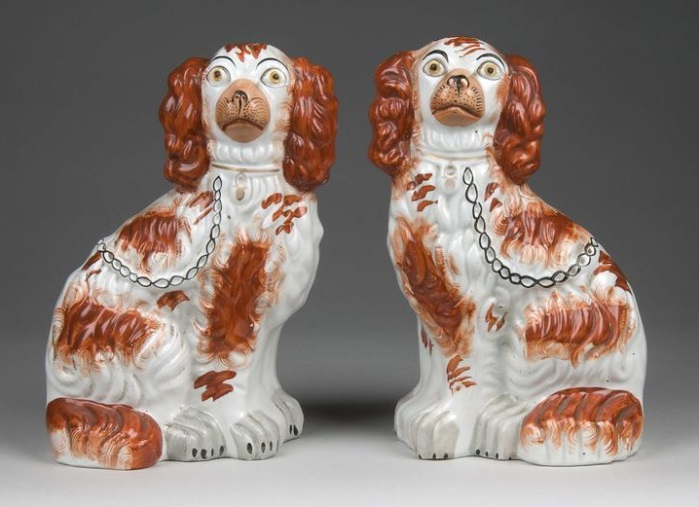 victorian staffordshire chimney dogs