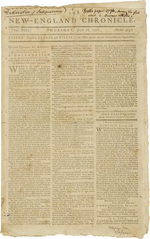Rare Declaration Of Independence For Auction At Bonhams New York