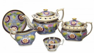 An English Porcelain Lavendar Ground Part Tea And Coffee Service, Iron-Red Painted Mark For New Hall, First Half 19th Century