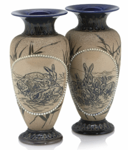 Hannah Barlow (Fl.1871-1913) & Florence Barlow (Fl.1873-1909)  Pair Of Vases, Circa 1890  stoneware, hand decorated, incised with rabbits, and pâte-sur-pâte painted birds