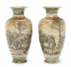 Hannah Barlow for Doulton Lambeth - A Pair of Salt-glazed Vases, circa 1895 each vase incised with three bulls and two horses grazing within a rugged country