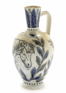Hannah Barlow for Doulton Lambeth - An Early Salt-Glaze Jug with Horse, 1874 incised with a horse portrait and stylised leaf decoration