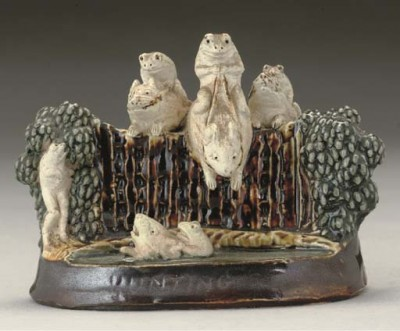 GEORGE TINWORTH FOR DOULTON LAMBETH; 'HUNTING' FIGURAL GROUP