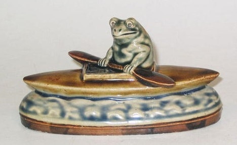 George Tinworth A Doulton Model of a Frog in a Canoe by George Tinworth