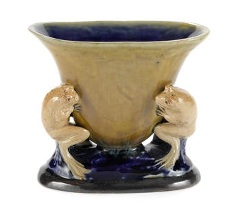 George Tinworth for Doulton Lambeth a Double Frog Footed Vase