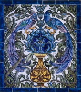 William De Morgan A Magnificent Tile Panel with Birds and Serpents