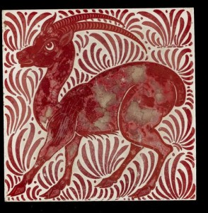 William De Morgan Antelope a Ruby Lustre Animal Tile