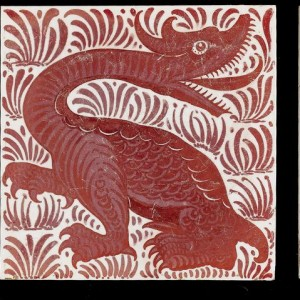 William De Morgan Dragon and Foliage a Ruby Lustre Animal