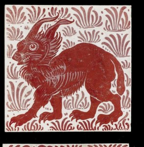 William De Morgan Lynx a Ruby Lustre Animal Tile circa 1880