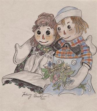 Gruelle Johnny Raggedy Ann & Andy original pencil and crayon drawing