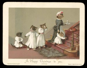 Victorian Cat Xmas Card - Anthropomorphic Kittens Going Up To Bed