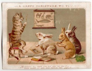 Victorian Xmas Card Pussy teaching Rabbit pupilsSold for £147 June 2016
