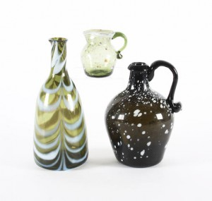 Nailsea or Wrockwardine type jugs and a flask
