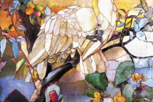 Sulphur Crested Cockatoos Mosaic designed by artist Louis Comfort Tiffany