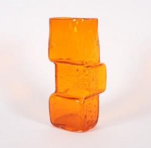 A Drunken Bricklayer Vase by Geoffrey Baxter for Whitefriarsin OrangeSold at Bonhams, Knowle £516 Nov 2010.