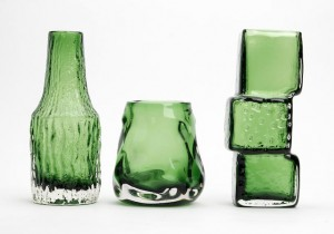 A collection of three WhitefriarsMeadow Green glass vasesSold at Bonhams, Chester £312 Nov 2012.