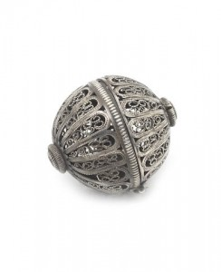 A late 17th early 18th century silver filigree pomander apparently unmarked