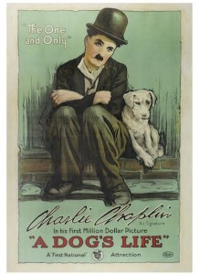 A rare 1918 Charlie Chaplin film poster for A Dogs Life