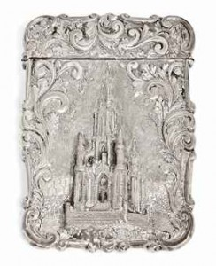 Nathaniel Mills silver card case catle top