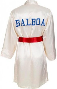 "Stallone's screen worn,  white ""Balboa"" boxing robe  from 1985's ""Rocky IV."""
